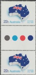 Australian Stamps SG 765 22c Flag as Australia, Australia Day colour control circle gutter pair (AF1/202)